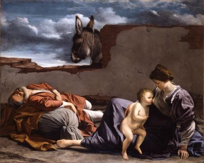 An exhausted Joseph, journey almost completed. Orazi Gentileschi