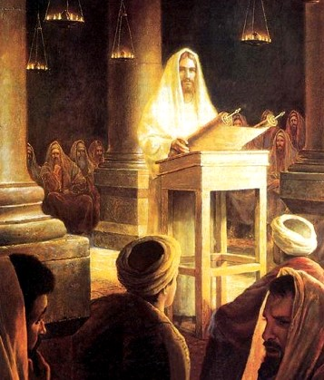 Jesus preaches in the synagogue at Nazareth, by Greg Olson