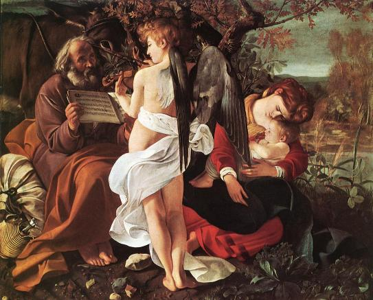 Jesus asleep in his mother's arms, as Joseph listens to an angel: Caravaggio