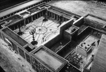 Reconstruction of the Temple in Jerusalem at the time of Jesus, showing Court of the Gentiles, Court of the Women, and the areas in which sacrifice was offered