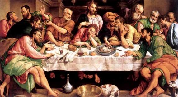The Last Supper, Jacopo Bassano. Peter sits at Jesus' right hand