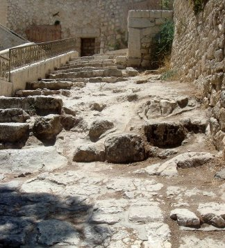 1st century road and steps leading to excavations of a house which may have belonged to Caiaphas