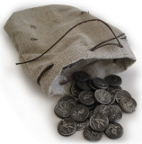 A small grey bag with ancient silver coins