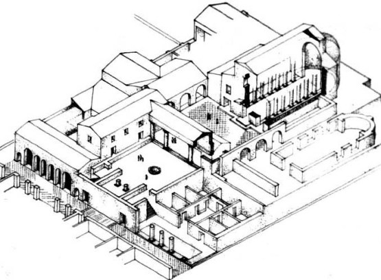 Drawing of the praetorium in the coastal city of Caesarea; the building in Jerusalem was similar.