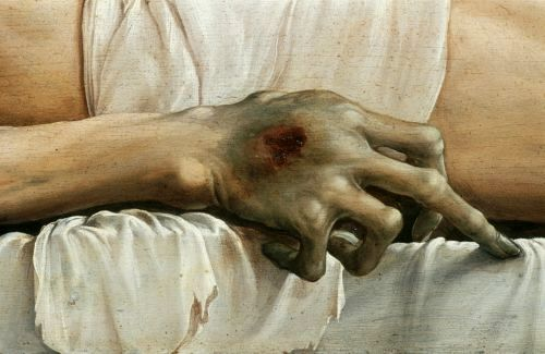 The Body of the Dead Christ in the Tomb, Hans Holbein the Younger, 1520, detail of hand