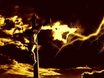 Illustration of Jesus hanging on the cross, with storm clouds and lightning in the background