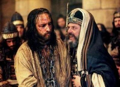 Jesus being questioned by Caiaphas, image from the film Passion of the Christ