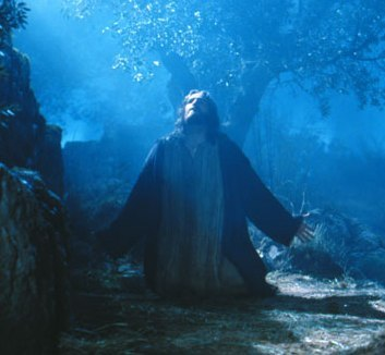 Jesus in the Garden of Olives, from the film Passion of the Christ