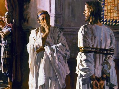 Jesus, tied with a rope, stands before a bemused Pilate