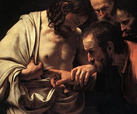 Jesus with doubting Thomas, Caravaggio