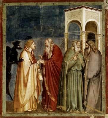 Judas plans the betrayal of Jesus, Giotto di Bondone