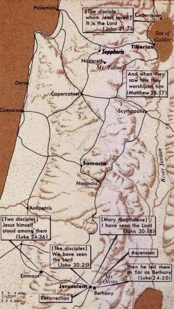 Map of incidents in the life of Jesus, including Emmaus
