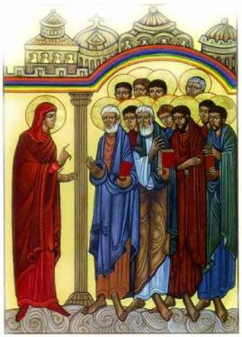 Mary Magdalene announces the Resurrection, Greek icon