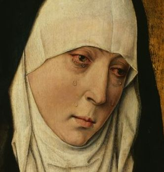 Mater Dolorosa, the Sorrowing Mother, painting, detail