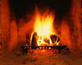 Open hearth with blazing fire