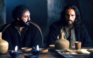 Peter and Jesus at the Last Supper; from the movie Passion of the Christ