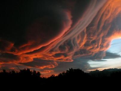 Photograph of violent storm clouds
