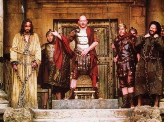 Pilate offers a choice between Jesus and Barabbas, from the film The Passion of the Christ