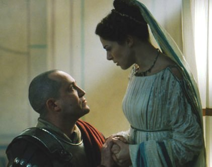 Pilate's wife tells him about her dream and warns him not to hurt Jesus of Nazareth. From the film The Passion of the Christ