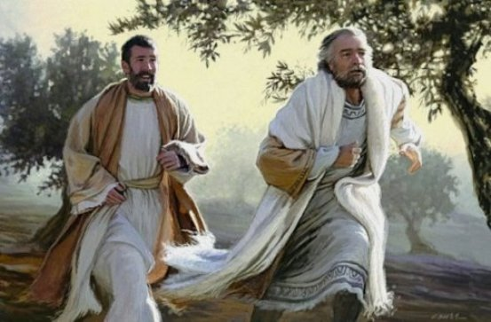 Reconstruction of the scene as Peter and John run towards the tomb in the early morning