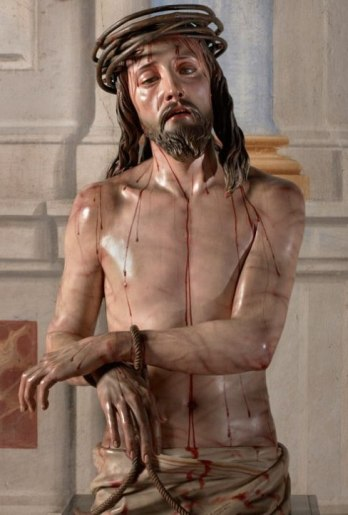 The Man of Sorrows, Pedro de Mena, 1673, carved wooden statue with painted surface
