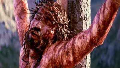 The crucified Jesus on the cross, from the film The Passion of the Christ