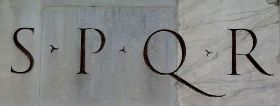 The initials S P Q R, standing for Senatus Populusque Romanus: the Senate and People of Rome