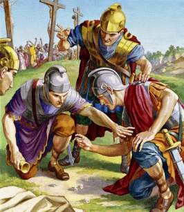 The soldiers roll dice for Jesus' clothing, painting