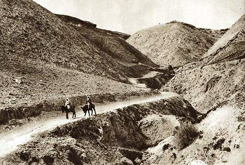 19th century photograph of the ancient road between Jericho and Jerusalem
