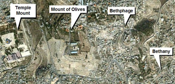Aerial photograph showing the Temple Mount, the Mount of Olives, Bethphage and Bethany