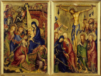 Diptych with the Wise Men's visit to the infant Jesus, and the crucifixion