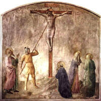 Fra Angelico, the soldiers pierce the side of Jesus to be certain he is dead