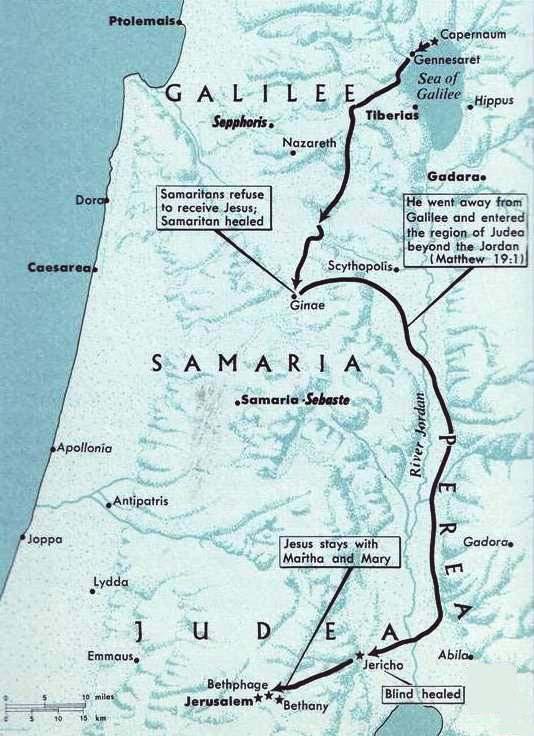 Galilee, Samaria, Jericho, Jerusalem