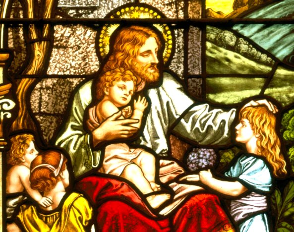 Jesus with the children, stained glass, artist unknown