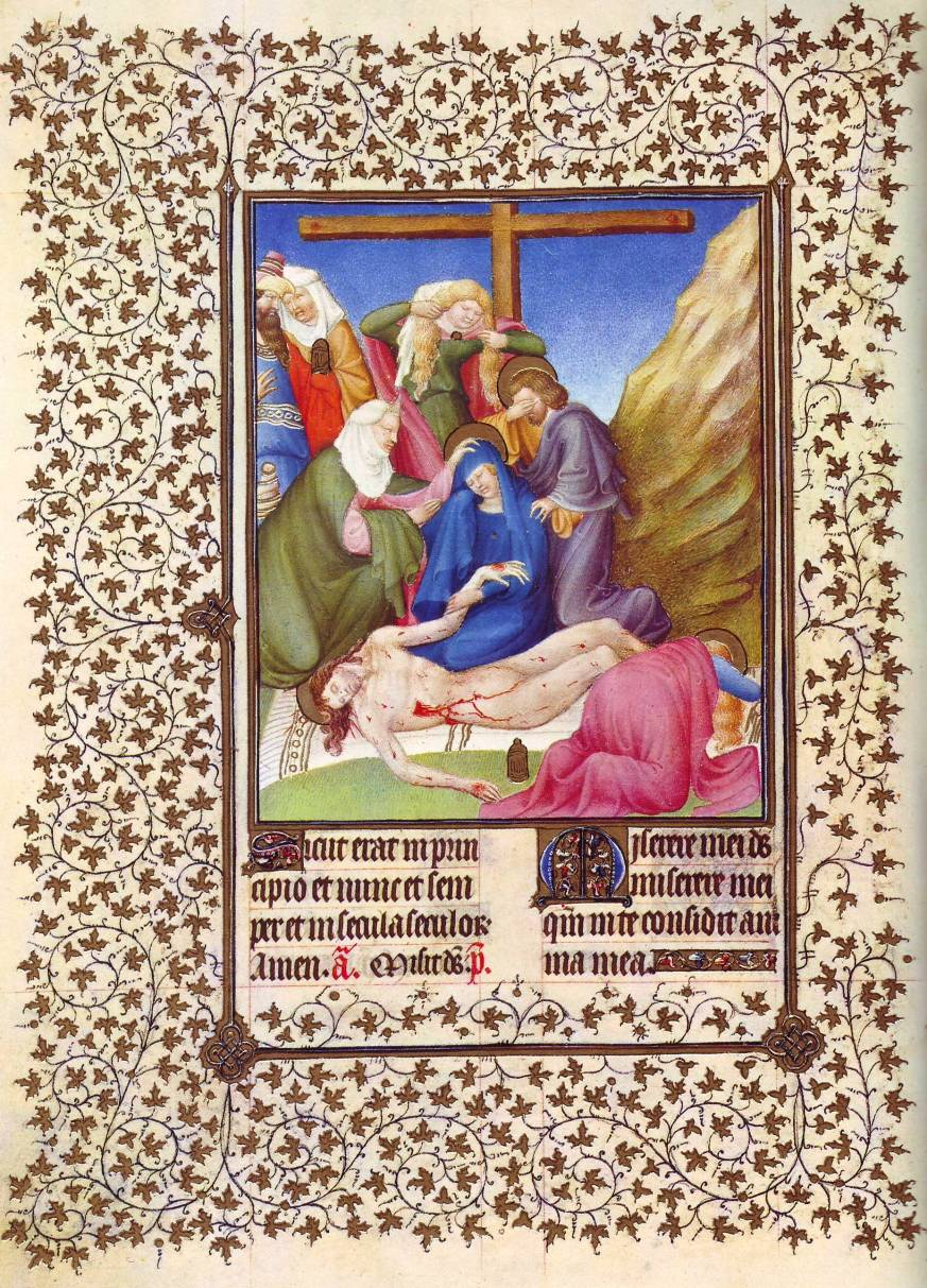 Lamentation over the body of Jesus, Book of Hours, Duc de Berry, large
