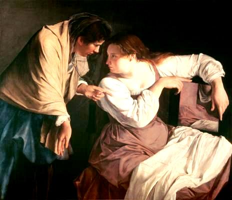 Martha reproving her sister Mary, Orazio Gentileschi, 1620