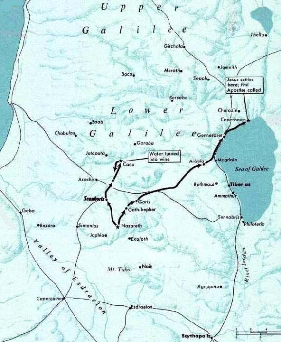 Nazareth, to Cana, and Capernaum