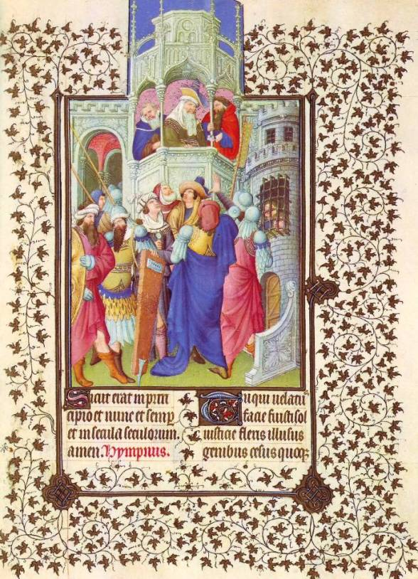 Pontius Pilate offers the people a choice: Jesus or Barabbas. Book of Hours, Duc de Berry