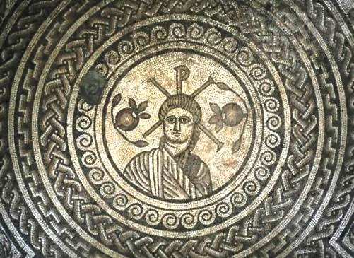 Stone mosaic image of Christ, excavated Roman floor  Hinton St Mary, Dorset, England