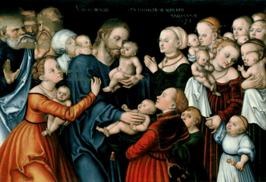 Suffer the little children to come to me, Lucas Cranach the elder