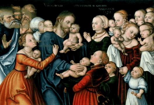 Suffer the little children to come to me, Lucas Cranach the elder