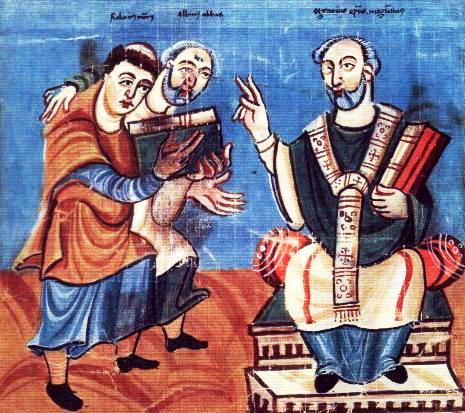 Rabanus Maurus presenting his thesis to Archbishop Otgar of Mainz