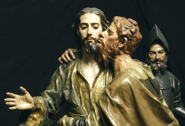 The Kiss of Judas, (El Beso de Judas), Francisco Salzillo, carving, 1754