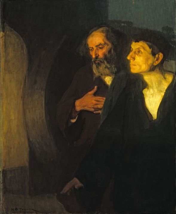 Two disciples (Peter and John) at the tomb, Henry Ossawa Tanner